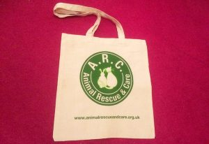 Canvas tote bag with Animalrescueand care logo